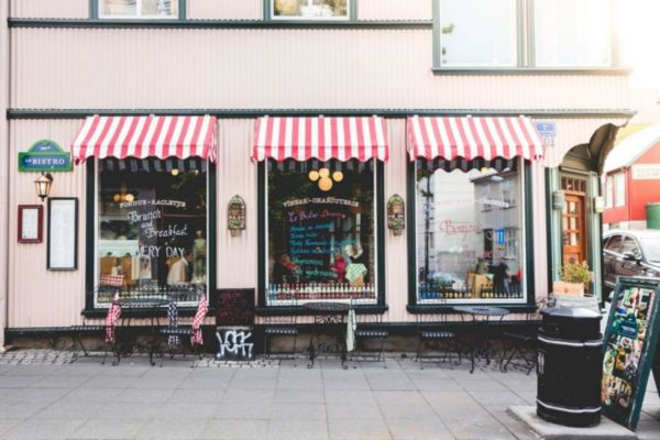 STORE FRONT WITH STIPED AWNINGS